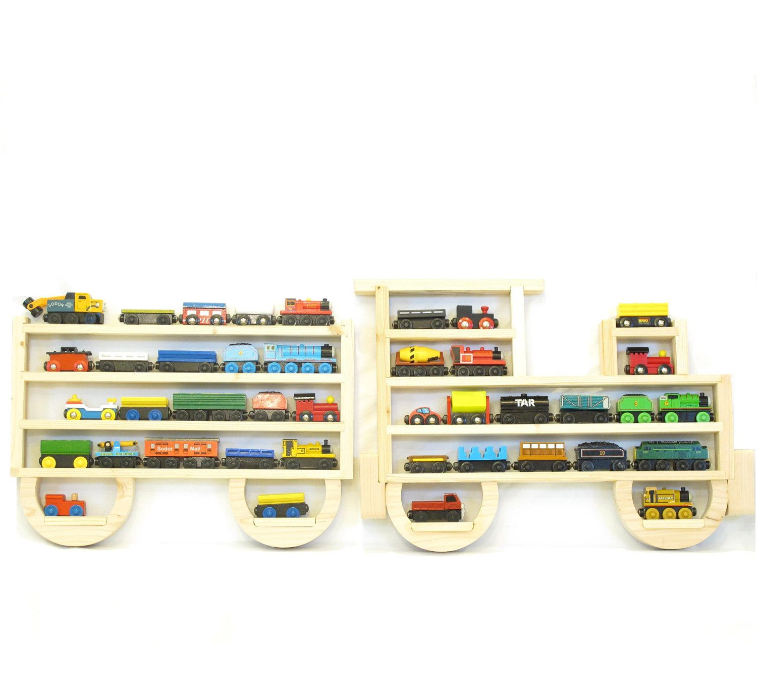 Awesome Wooden Wall Storage Train Rack Organizer