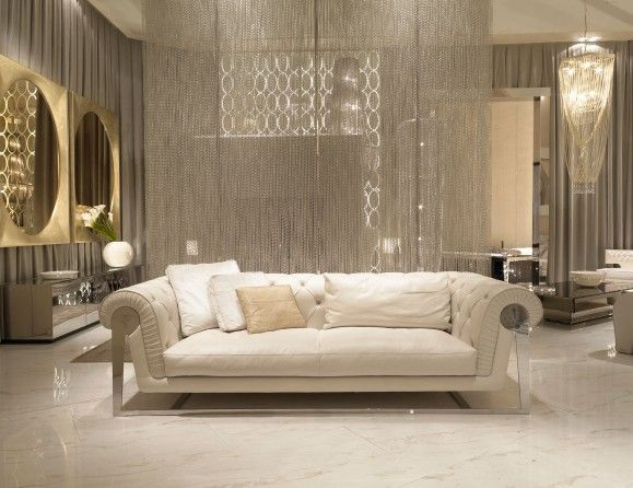 Visionnaire Upholstery Chester Dudley Luxury Italian Designer Sofa Upholstered in White Fabric with a Capitonne Embroidered Back and Stainless Steel Base