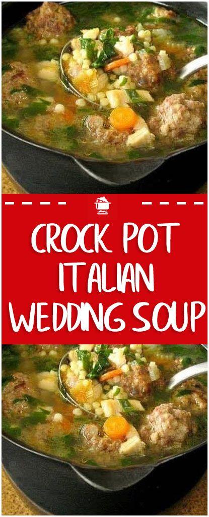 Crock Pot Italian Wedding Soup  #crockpot #soup #italianweddingsoup