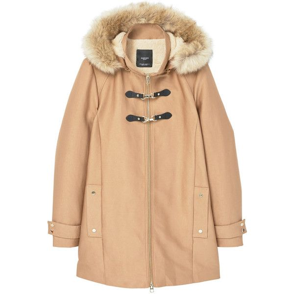 e89918eac2fc MANGO Furry hooded parka ( 170) ❤ liked on Polyvore featuring outerwear