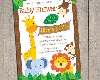 Lovely Bebé Ducha Safari Invitación Invitación De Por SweetCelebrationD. Safari  InvitationsInvitations Baby ShowersMonkey ...
