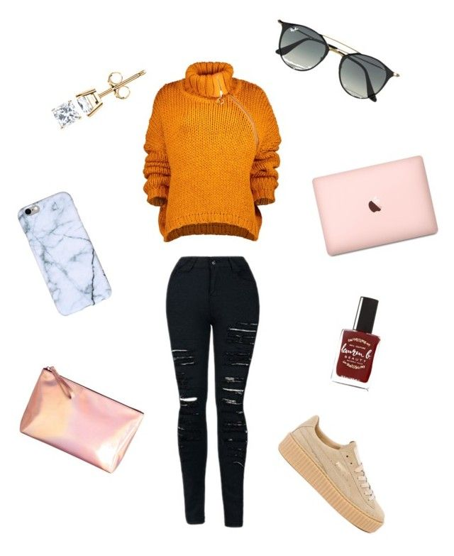 """Untitled #2"" by asmarunique on Polyvore featuring Marques'Almeida, Puma, Ray-Ban, Lauren B. Beauty and H&M"