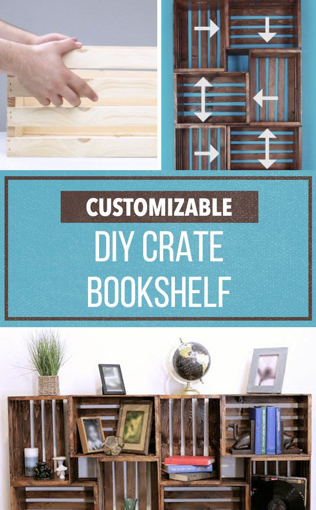 Repurpose Old Wooden Crates With This Clever Bookshelf DIY (Life Hack:  Joannu0027s Sells These Crates For Cheaper And Has Coupon)
