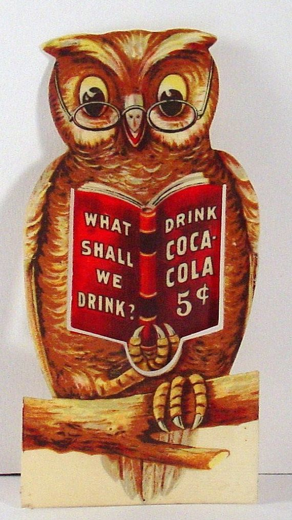 1906 Coca Cola Owl Celluloid Bookmark - Advertising Paper Ephemera - Whitehead and Hoag Advertising Company
