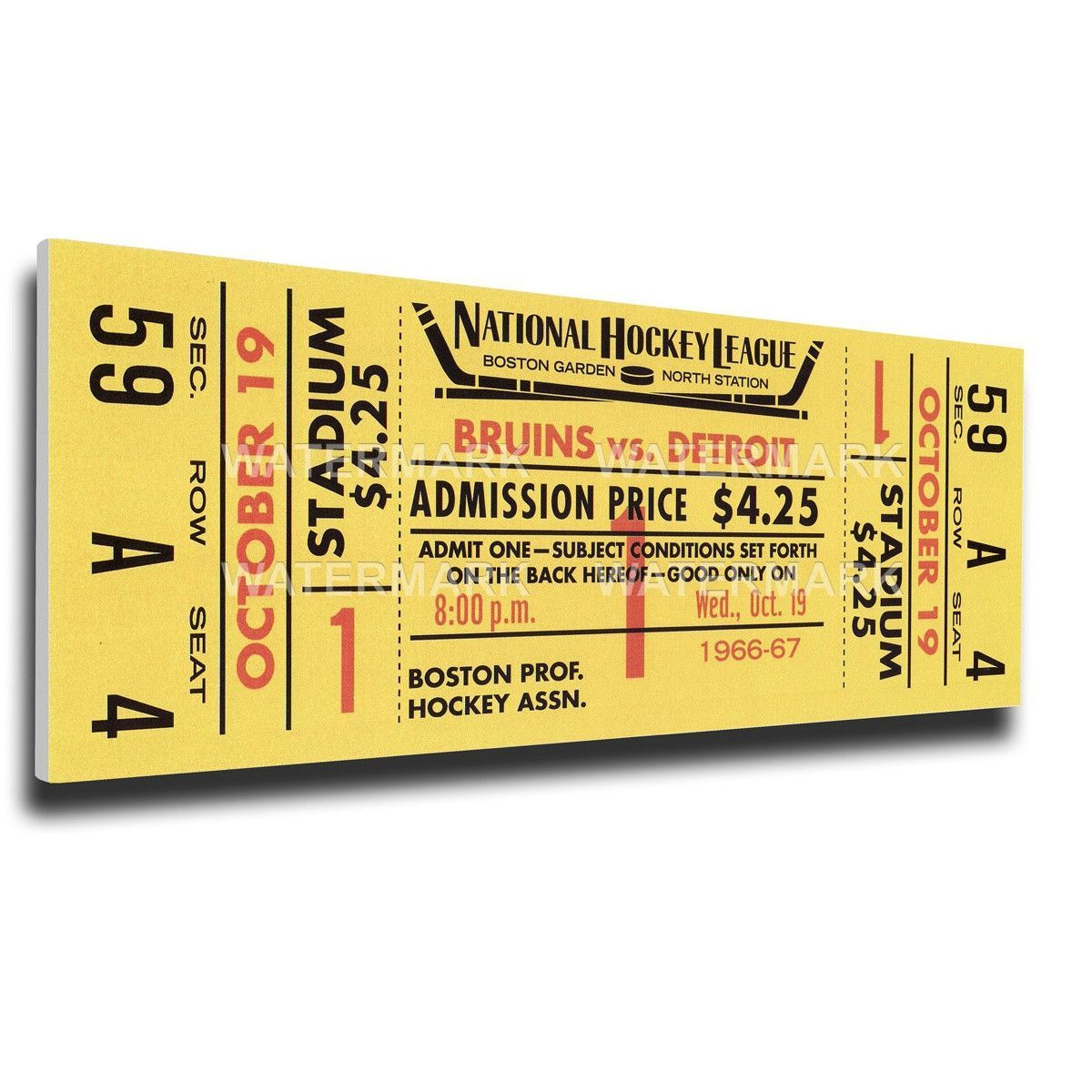 Boston Bruins Wall Art - Bobby Orr First NHL Game Canvas Mega Ticket ...