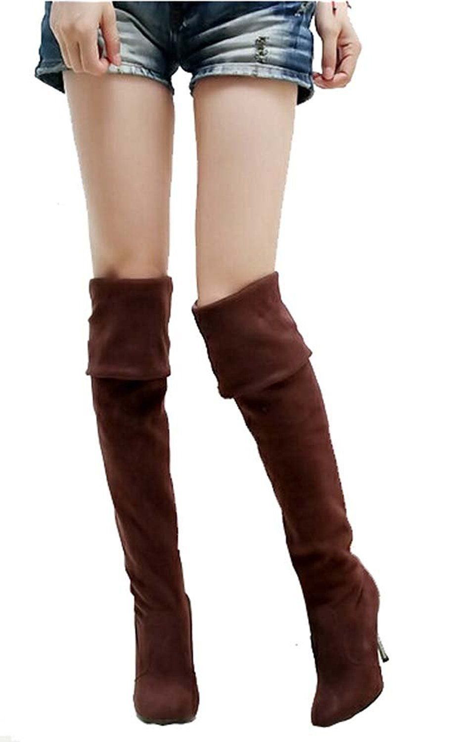 2014 Women High Heels Boots Sexy Fashion Autumn Winter Ladies Pointed Toe Long Over the Knee Boots * See this great product.