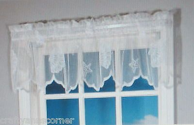 Seashells Starfish Lace Coastal White Kitchen Curtain Valance