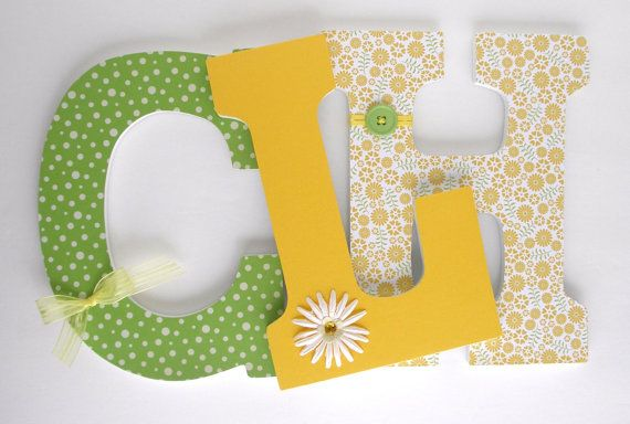 Wood Nursery Letters - Yellow and Green - Custom Letter Set ...