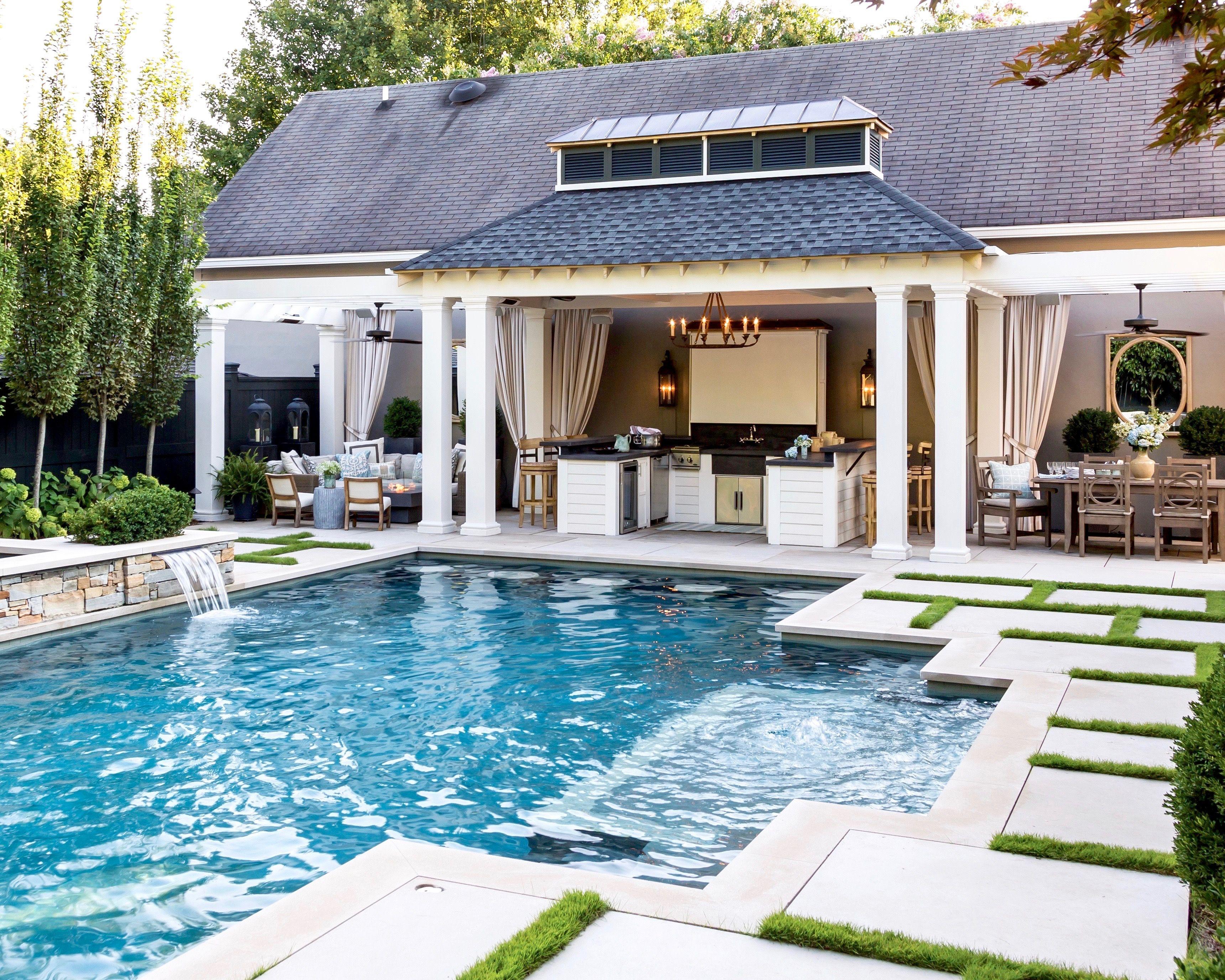 July August 2017 Southern Lady Magazine Pool Houses Backyard Pool Designs Backyard Pool Landscaping