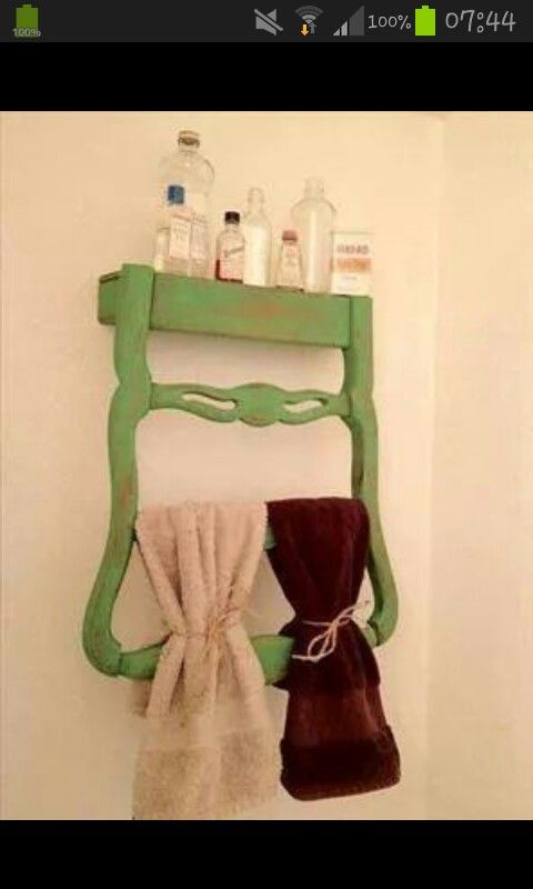 Do It Yourself Creations: U201cOld Ladder Back Chairs Can Be Repurposed For So  Many Different Things. This Chair Was Repurposed Into A Towel Rack In A  Vintage ...