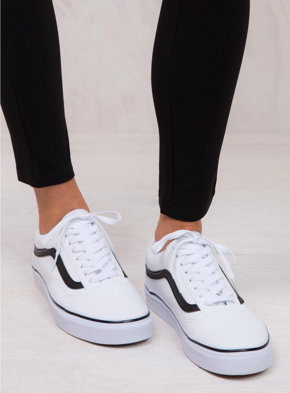 Vans Classic Tumble White Old Skool | Vans shoes outfit