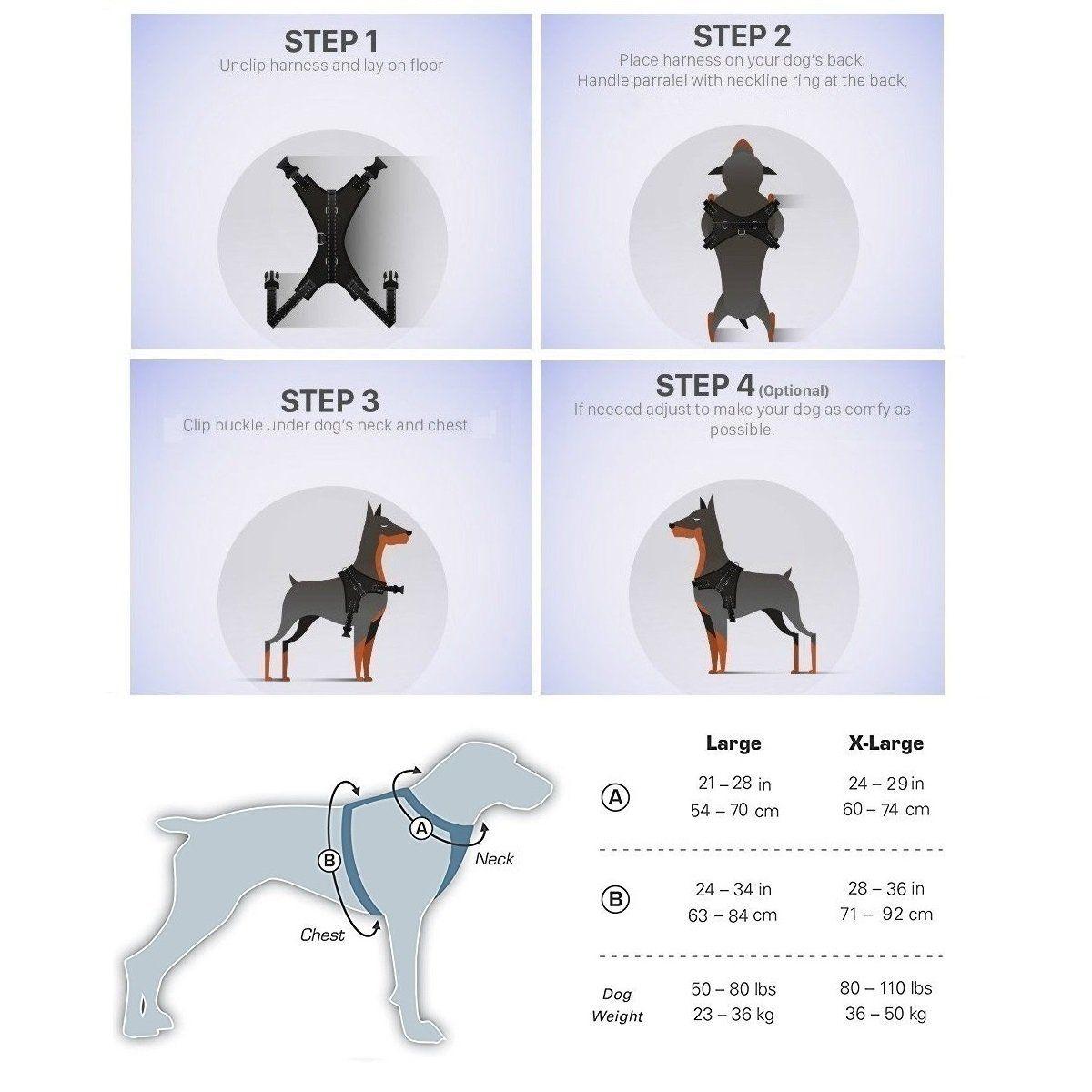 Dog Harness Adjustable Soft Mesh No Choke No Pull Breathable Multi