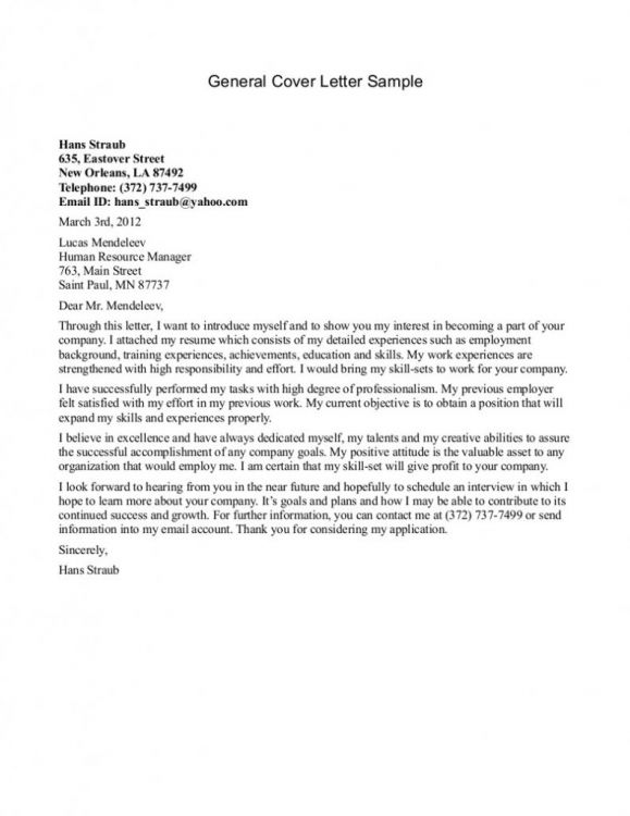 Perfect Modern Generic Cover Letter For Resume Wording Publication