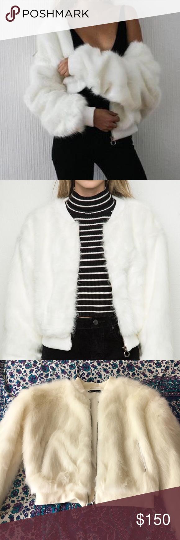 ad3e0eeb8 TAKING OFFERS Brandy Melville fur jacket Brandy Melville white fiona ...