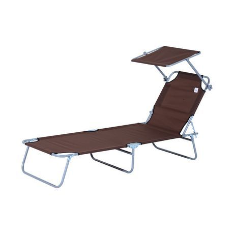 Outsunny Outdoor Reclining Lounger W Sun Shade Brown Lounger