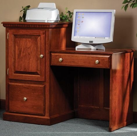 a bi level computer desk with a padded keyboard pullout cabinet and rh pinterest com