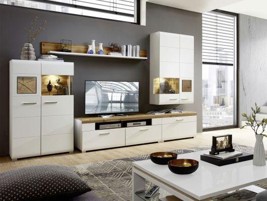 FELIPA I Wohnwand weiß/Eiche/Hirnholz dekoidee Räume Pinterest - Wohnzimmer In Weis Und Braun