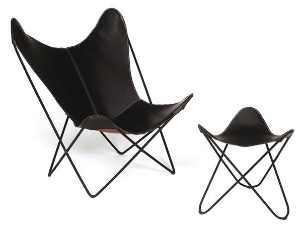 Attirant Jorge Ferrari Mardoy Butterfly Chair And Ottoman, C.1950s, Original Black  Leather Sling Seats In Bent Steel Frames, Unmarked, Chair: 29u201dw X .