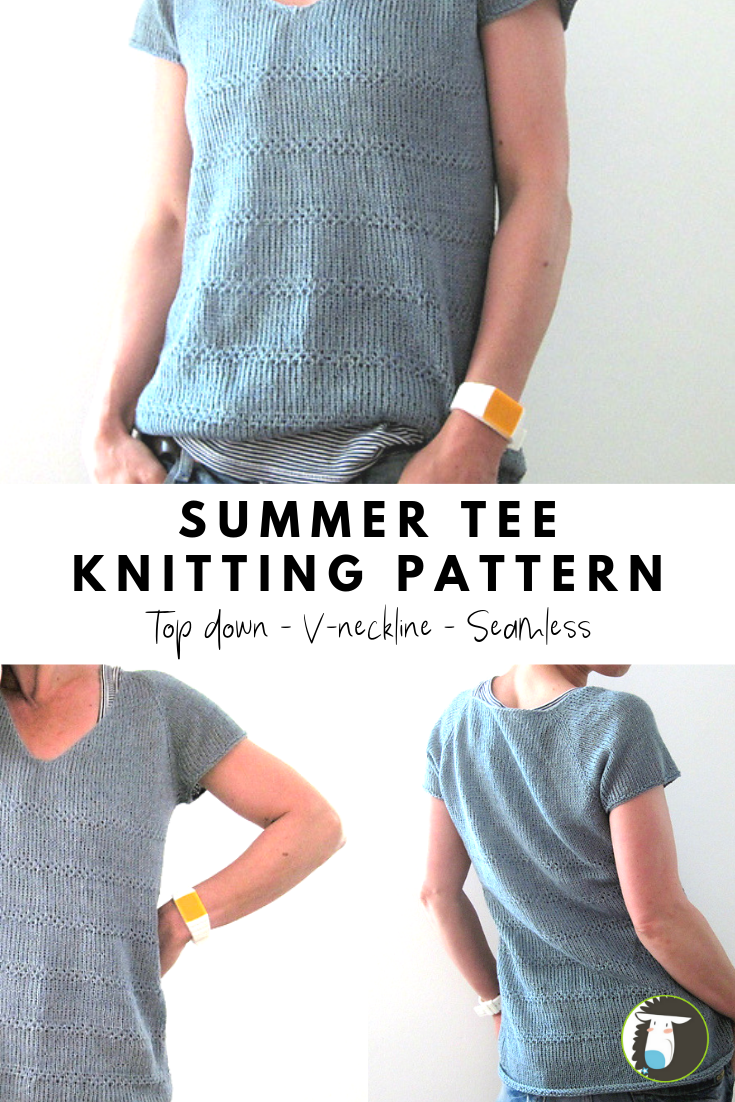 Photo of 10 Summer Tee Knitting Patterns – This one is a v-neck seamless tee. It's knitte…