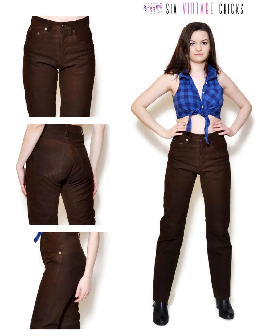 110d2b7f Brown Leather Pants 90s Vintage Pants Country Buffalo Leather Trousers boho  bohemian vintage clothing leather pant High Waisted Size S/36/28 by ...