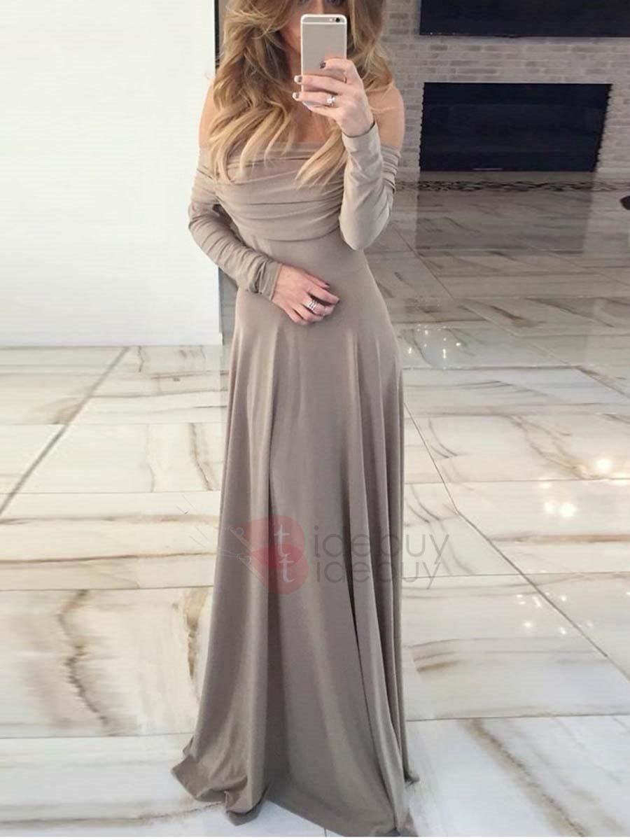 Tidebuy tidebuy long sleeves off shoulder maxi dress adorewe