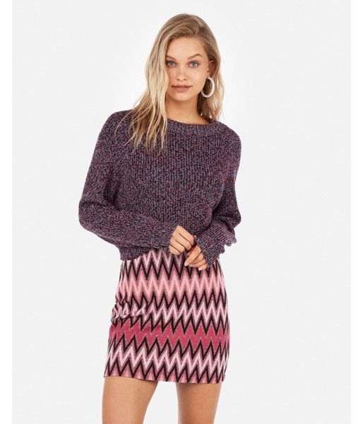 810845740 High Waisted Chevron Knit Mini Skirt Black And White Women's XXS in ...
