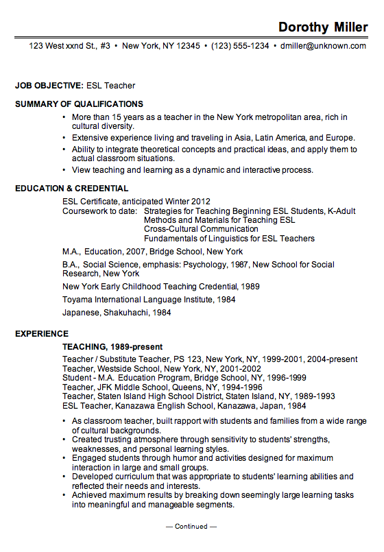 sample resume esl teacher chronological format elementary school ...