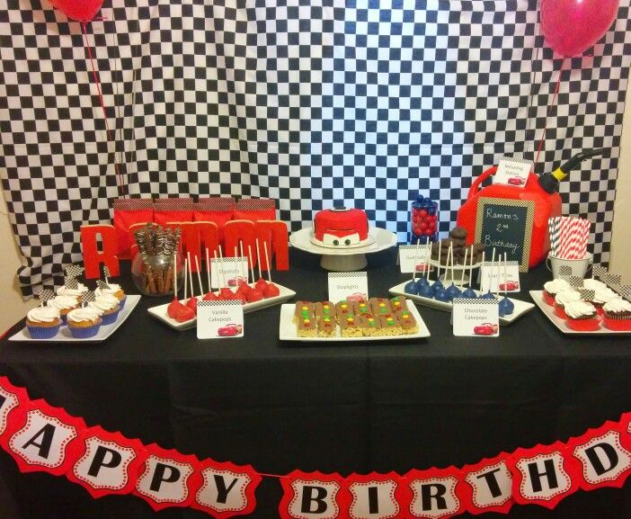Disney Cars theme dessert table | Disney cars theme, Car themes, Dessert table