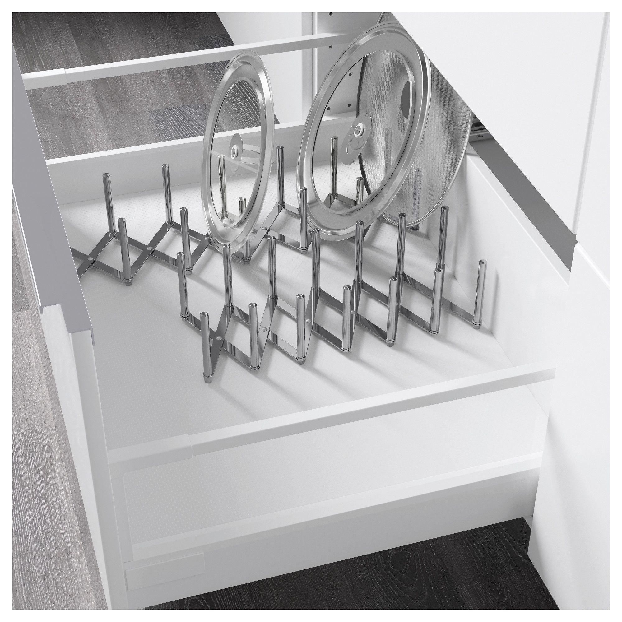 VARIERA stainless steel, Pot lid organiser IKEA   Pot lid