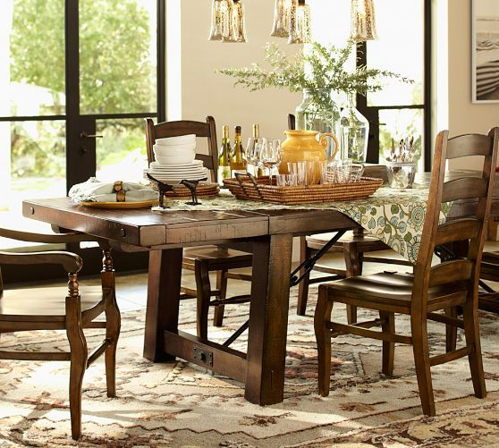 Benchwright Extending Dining Table Rustic Mahogany Stain