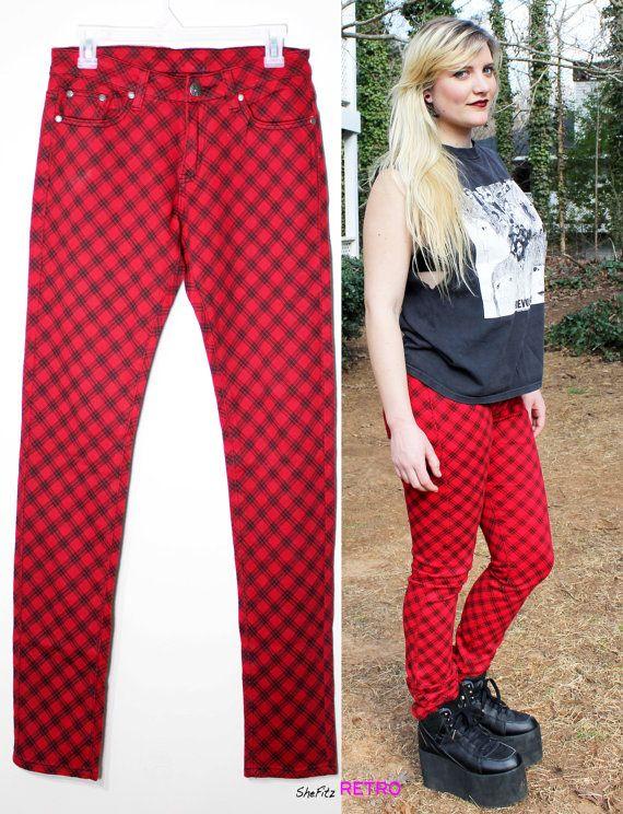 Punk Red Tartan Plaid Skinny pants by SheFitzRetro on Etsy, $25.00