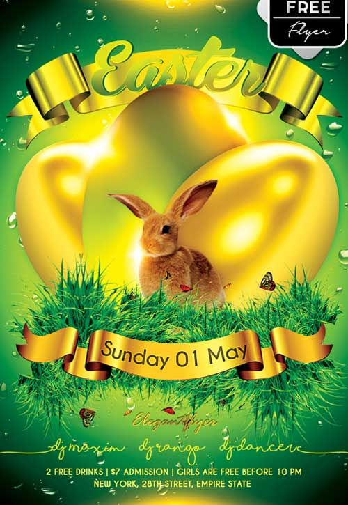 Easter Party Free Psd Flyer Template  HttpFreepsdflyerCom