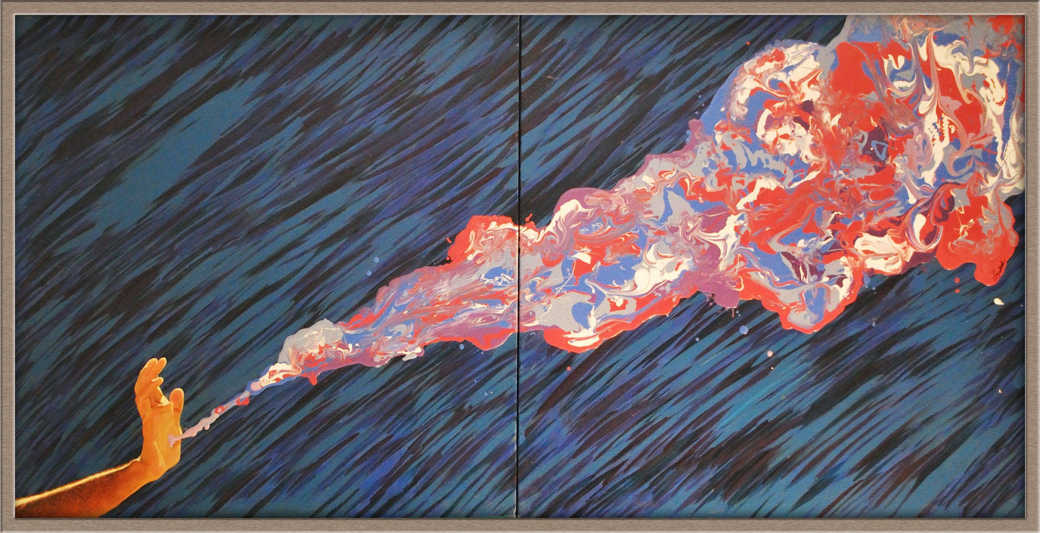 "Splash of Action  36"" x 72""  Acrylic on canvas"