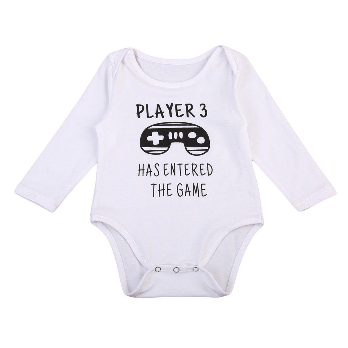 Newborn baby girl boy long sleeve onesie bodyusit letter romper