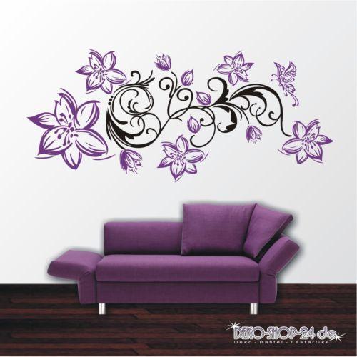 Attractive WANDTATTOO Blumen Ranke 2 Farbig Blumenranke Schmetterling Motiv  Good Ideas