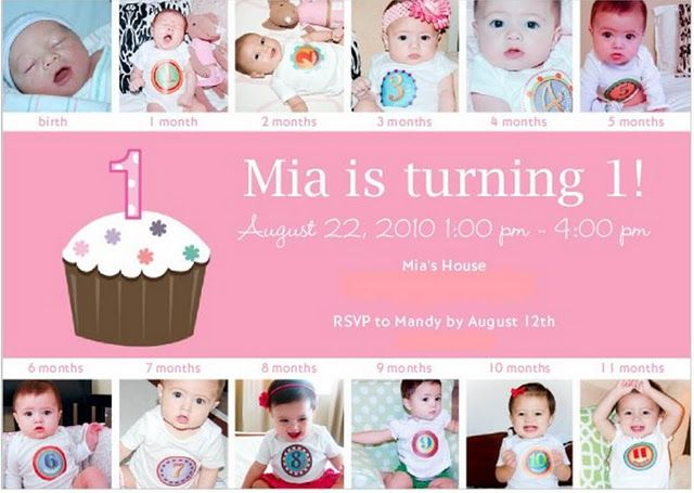 Monthly Baby Photos On First Birthday Party Invitation This Is