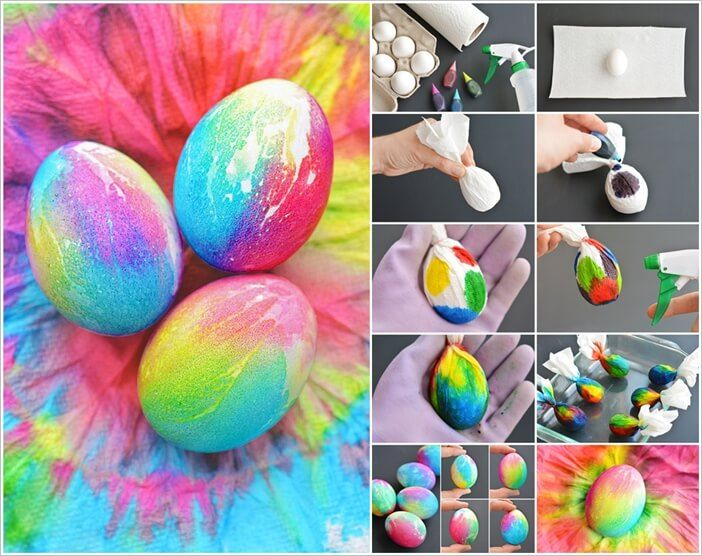 Image via: one little project To make these cheerful tie dye Easter eggs first you have to hard boil eggs. Then tie each egg in a paper towel. After that put drops of different food colors on each paper towel wrapped egg. Spray the egg with water so that the color covers the wholeegg. Do this to all the eggs and set #hardboiledeggs