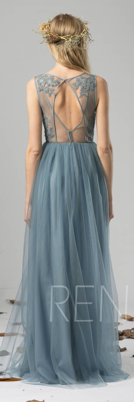 Bridesmaid dress dusty blue tulle dress wedding dressillusion v