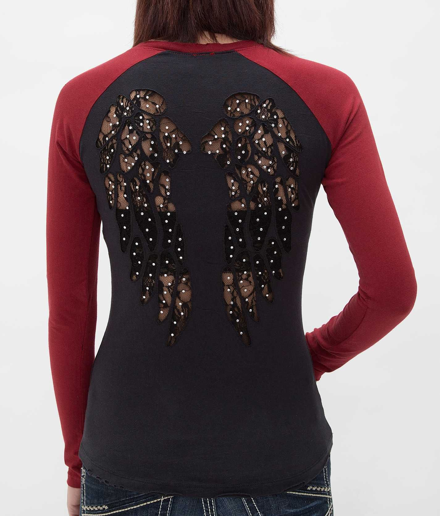 Women's tattoo designs on back sinful carmelita tshirt  womenus shirtstops  buckle  clothes