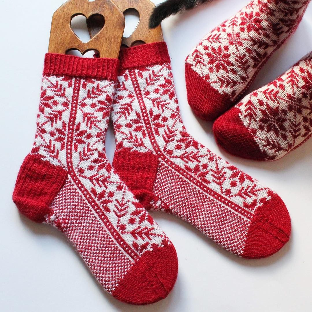 Petra On Instagram Gorgeous Red White Knitted Socks
