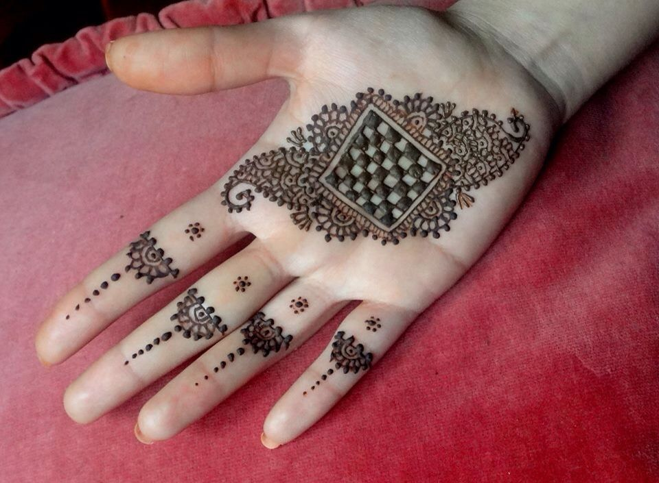Inai Party Mehndi Red Cone : Inai tangan simple gambar henna corak
