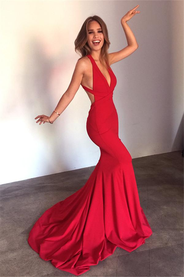 25bb63949e Mermaid Open Back Sexy Formal Dress Deep V-Neck Red Sleeveless Prom Dress