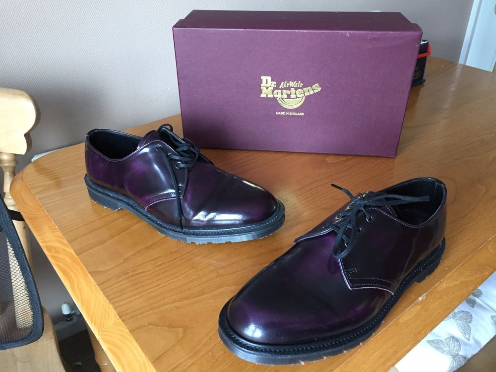Dr Martens 1461 Steed Purple Arcadia Leather Shoes Uk 7 Eu 41 Skin England Arcadias