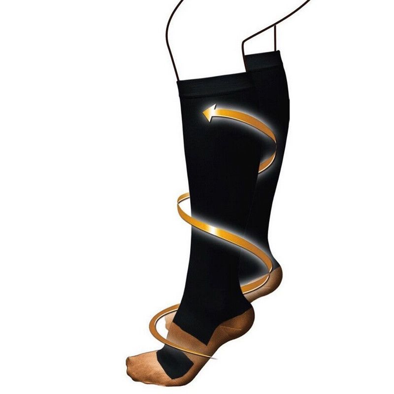 1pairs copper fit energy compression stocking black size
