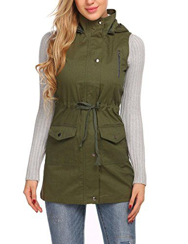 0b8c24229f6b7 Women s Lightweight Sleeveless Military Anorak Safari Vest Jacket w   Drawstring   Click image to review more details. (This is an affiliate  link)   ...