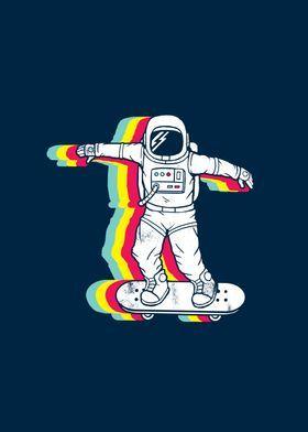 Metal Poster Spaceboarding
