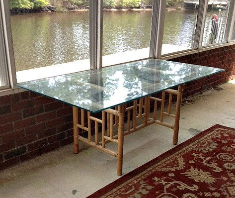 Glass · Vintage Large Rattan Table With Glass Top ...
