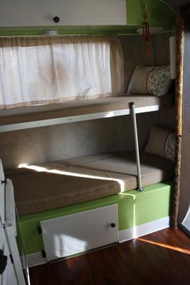 Hippiesque Scamp Bunks Travel Trailer Remodel Vintage Travel Trailers Trailer Remodel