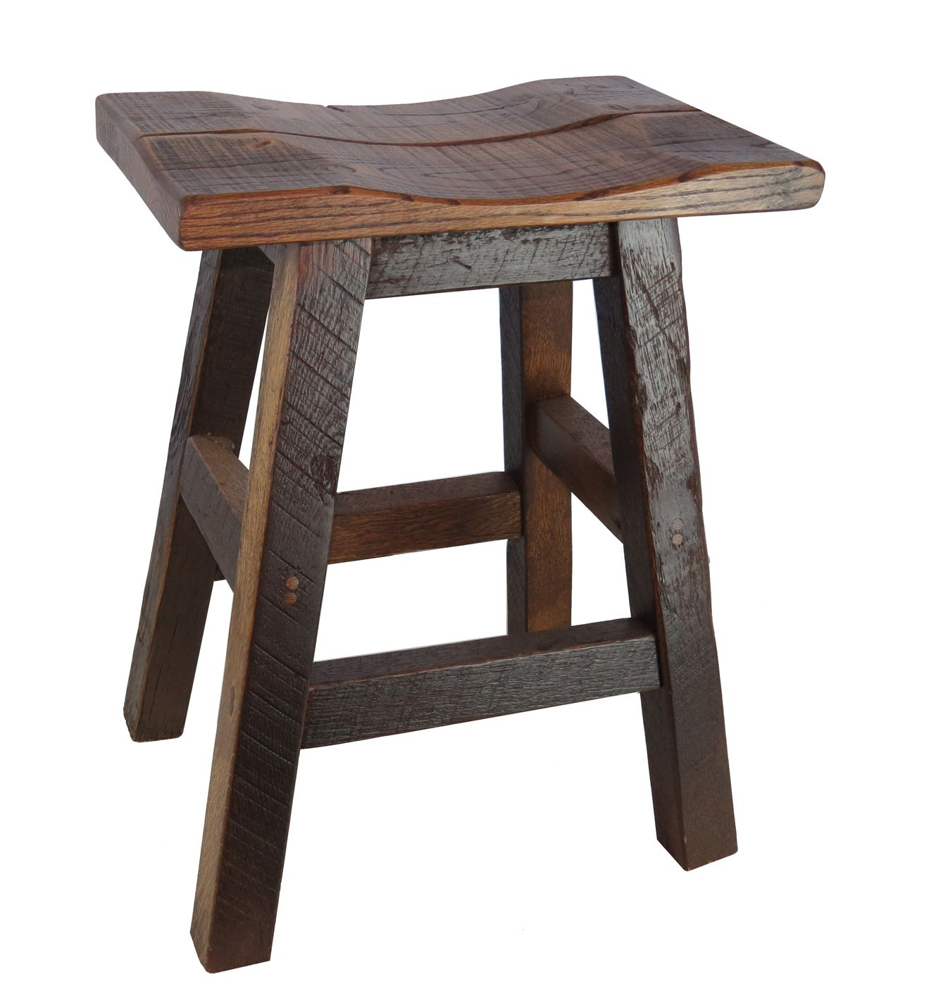 Barnwood Bar Stools 24 Saddle Seat Wood bar stools Wood bars