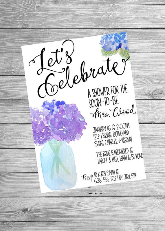 Printable Bridal Shower Invitation Watercolor by